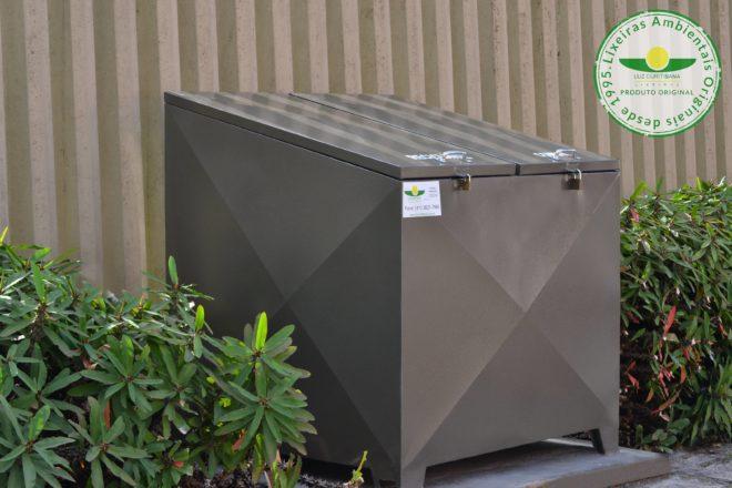 Lixeira aço condomínio calçada